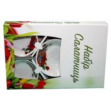 Набір салатників 5предметів (фарфор) Цвіт маку